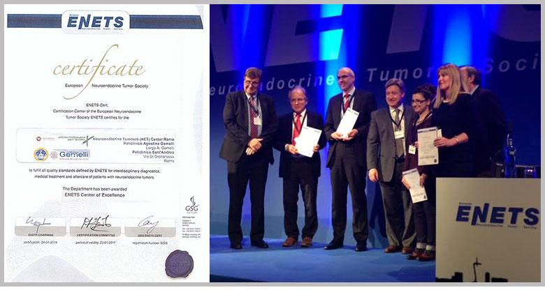 Certificato Centro di Eccellenza ENETS - Team multidisciplinare del Policlinico Gemelli
